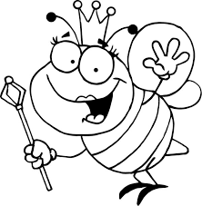 Small Picture Bumblebee Queen with Royal Sceptre Coloring Page Download