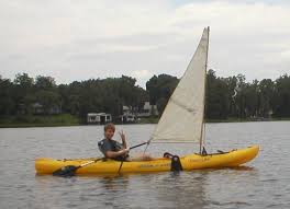 kayak sailing with home made diy sail upwind capable del valle