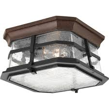 progress lighting derby collection 2 light espresso outdoor flushmount