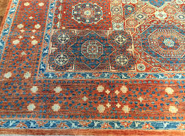 8 10 blue orange wool rug india