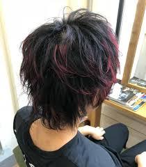 レッドメッシュウルフ大阪メンズ束感カットメンズヘアスタイル3d