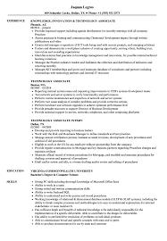 Technology Associate Resume Samples Velvet Jobs
