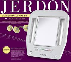 amazon jerdon jgl7w euro lighted mirror with 5x magnification 4 light settings white finish personal makeup mirrors beauty