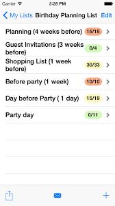 Birthday Planning List By Jimbl Software Labs Llc