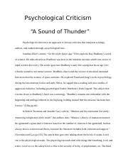 Psychological Criticism Phycological Criticism Psychological Criticism A Sound Of Thunder