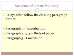 format for persuasive essay info format for persuasive essay structure of persuasive essay essays often follow the classic 5 paragraph format