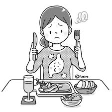 胃もたれ胃の調子が悪い女性のイラストモノクロ 子供と動物の