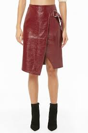 faux patent leather d ring skirt