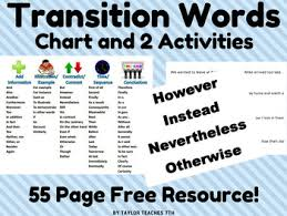 Transition Word Chart Transition Words And Phrases Chart And 2 Activities Ela Middle School