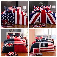100 cotton fashion home texile american flag bedding set usa uk flag bedding queen king british flag quilt duvet cover set in bedding sets from home
