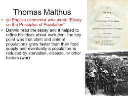 developing the theory of evolution ppt video online  thomas malthus an english economist who wrote essay on the principles of population