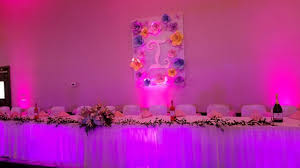 layered lighting. Quinceañera Layered Table Lighting Effect In Purple And Hot Pink