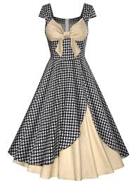 Dress Design Vintage Plaid Bowknot Design Contrast Panel Dress