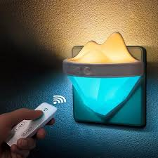 Dimmable Plug In Night Light Ac220v Iceberg Led Remote Control Night Light Plug In Dimmable Timer For Indoor Bedside Baby Room
