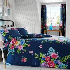 details about alice fl king size duvet cover pillowcase set navy pink bedding