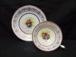 Decorative Cups And Saucers Royal Chelsea Wide Mouth Tea cup Saucer Artist Signed Fruit Gold 97