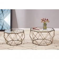 mabel coffee table glass top set of 2 brushed brass 1600026 by new pacific direct