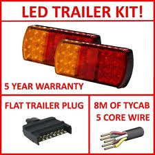 trailer lights pair of led trailer lights 1 x flat plug 8m x 5 core wire kit complete light
