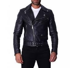 chiodo biker black belted leather biker jacket
