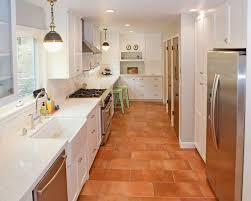 modern kitchen tile flooring. Exellent Flooring Beautiful Modern Kitchen With Terracotta Colored Tile Flooring  Piedmont Design Floor White Cabinetry For Flooring R