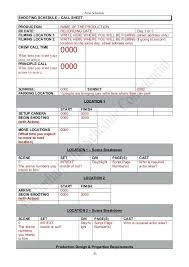 Shooting Schedule Template Unusual Sample Production Schedule ...