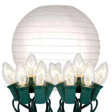 10 light white paper lantern string lights