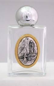 our lady of lourdes holy water bottle square 1 75x3 25