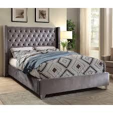 Aiden Grey Tufted Velvet Full Bed w/ Nailhead Detail on Chrome Legs by Meridian Furniture