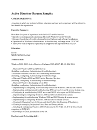 Active Directory Resume Sample Windows 2000 Active Directory