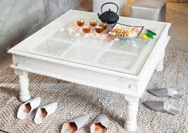 image of white glass top coffee table shabby chic