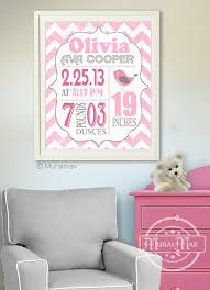 on etsy personalized baby wall art with birth announcement wall art baby girl announcement baby