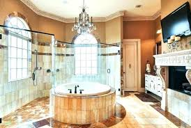 master bathroom crystal chandelier round tub and elegant for luxury bathro