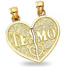details about 14k yellow gold te amo heart pendant broken heart charm two piece breakable