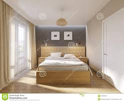 Light Wood And White Bedroom Modern Bedroom Interior Design Stock Illustration