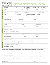 medical patient registration form patient registration forms carabin eye care