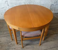 round extending teak dining table 4 chairs midcentury retro