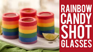 how to make rainbow candy shot glasses