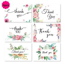 <b>6Pcs</b>/<b>Set</b> Floral Style Thank You Printing Cards with Envelopes for ...