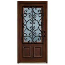 single front doors. Delighful Front Decorative Iron Grille 34 Lite Stained Mahogany Wood Prehung Front Door For Single Doors B
