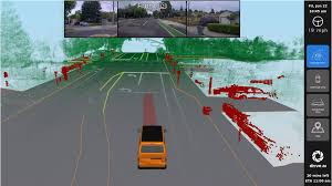 on a 13 inch screen inside the car pengers get the view from the car s cameras as well as what its lidar laser sensor sees