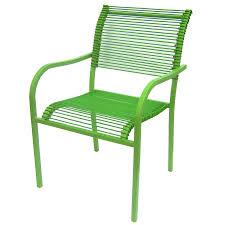 garden treasures green strap seat steel stackable patio dining chair