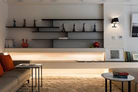 superb black finished ply wooden modern wall shelves as artwork crafts display feat contemporary living set in midcentury living room decorating designs