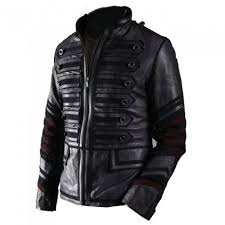 30 mens punk rocker military leather jacket