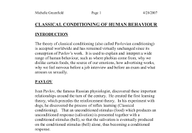 classical conditioning in human behaviour a level psychology  document image preview