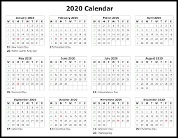 Printable Calendars 2020 With Holidays Free Printable Calendar 2020 Template In Pdf Word Excel
