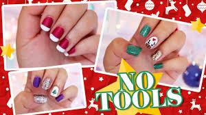 3 Easy NO TOOLS Christmas Nail Art - YouTube