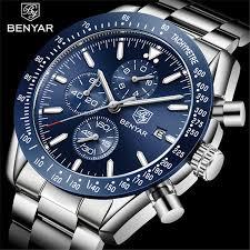 <b>BENYAR</b> 2019 <b>Mens Watches Top</b> Luxury Brand Business Steel ...