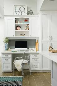 office in kitchen. A Seamlessly Built-in Office Nook In The Kitchen, Desk And Cabinets Made Kitchen