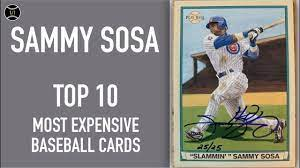 Sammy sosa baseball cards sort by recently added card # oldest newest highest srp highest price lowest price biggest discount highest percent off print run least in stock most in stock ending soonest listings 6 8 10 12 14 15 16 18 20 24 30 40 50 64 100 Sammy Sosa Top 10 Most Expensive Baseball Cards Sold On Ebay December February 2019 Youtube