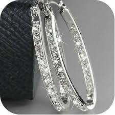 <b>Women</b> Silver <b>Crystal</b> Rhinestone <b>Large</b> Hoop Dangle Earrings ...